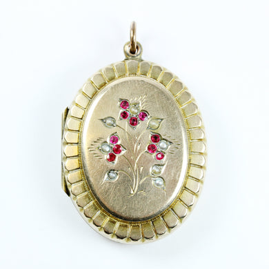 9ct Yellow Gold Locket With Ruby and Sea Pearl