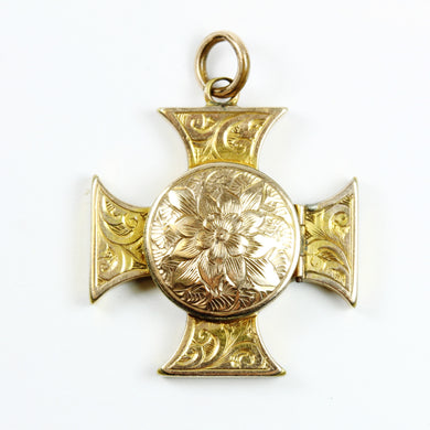9ct Gold Plated Cross Locket with Floral Embellishment