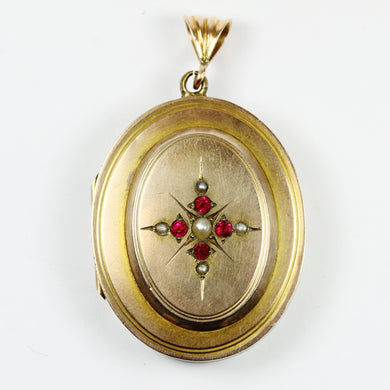 9ct Gold Plated Locket with Ruby and Sea Pearl Engraving