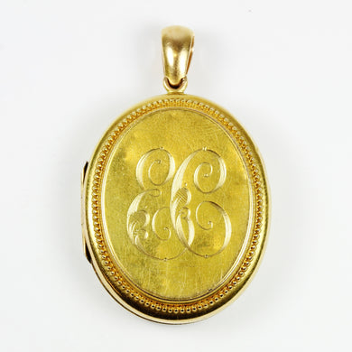18ct Yellow Gold 'EC' Monogram Locket