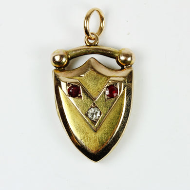 15ct Yellow Gold Shield Locket With Ruby and Diamond