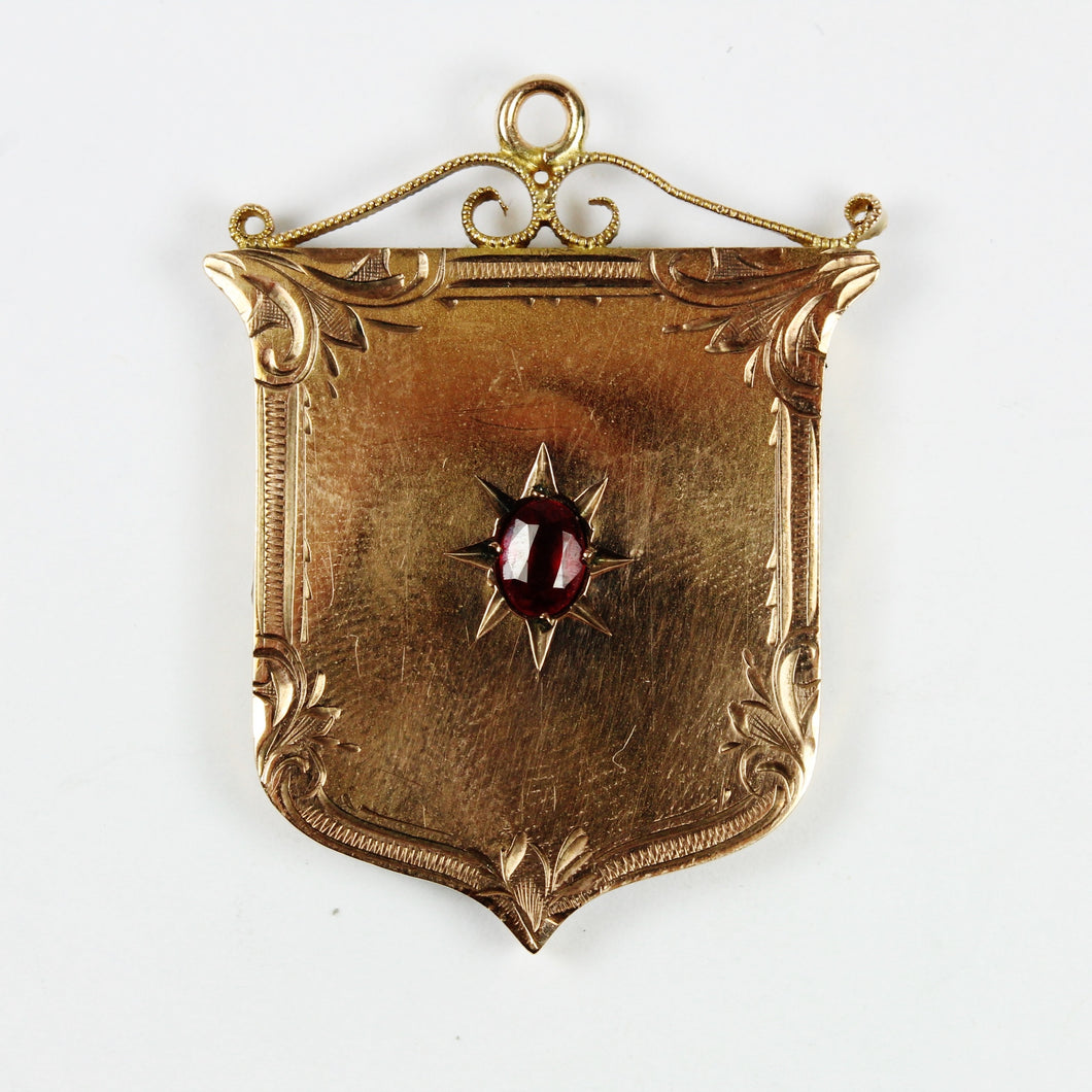Antique 9ct Rose Gold Ruby Shield Pendant