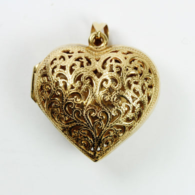 9ct Yellow Gold Flourished Heart Locket