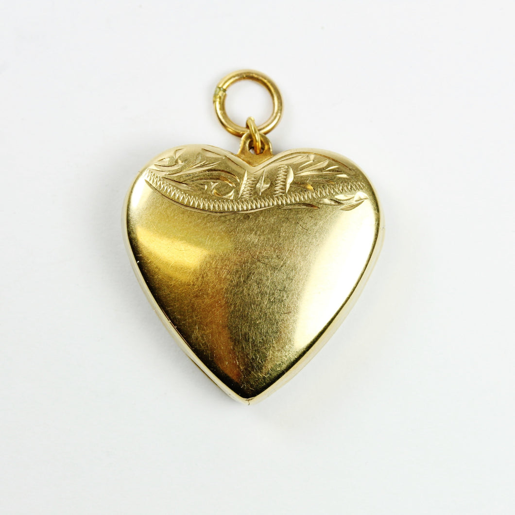 Antique 9ct Yellow Gold Heart Locket with Flourished Engraving
