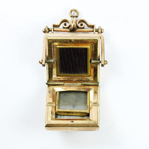 Antique 9ct Yellow Gold Square Engraved Bloodstone Swivel Locket