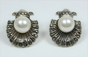 Sterling Silver Marcasite Shell With Pearl Stud Earrings