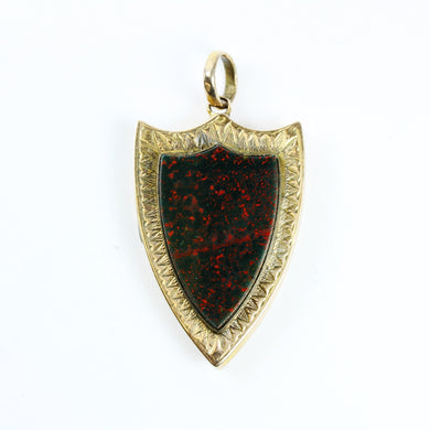 10ct Yellow Gold Scottish Shield Locket with Bloodstone