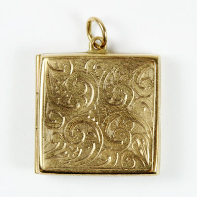 9ct Gold Square Flourished Locket