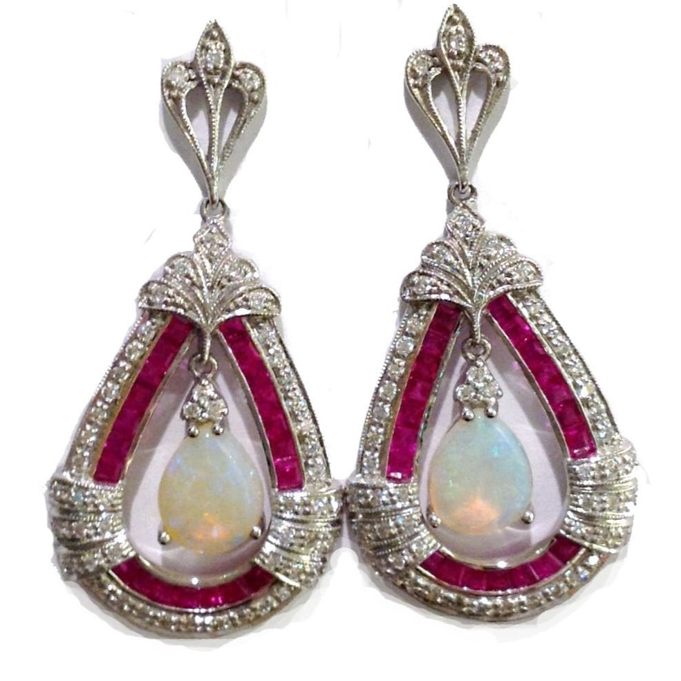 18ct White Gold Solid Opal, Ruby and Diamond Drop Earrings