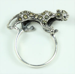 Sterling Silver Leopard Marcasite Ring