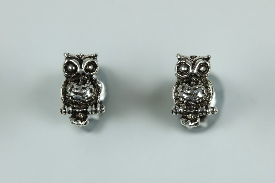 Sterling Silver Stud Owl Earrings
