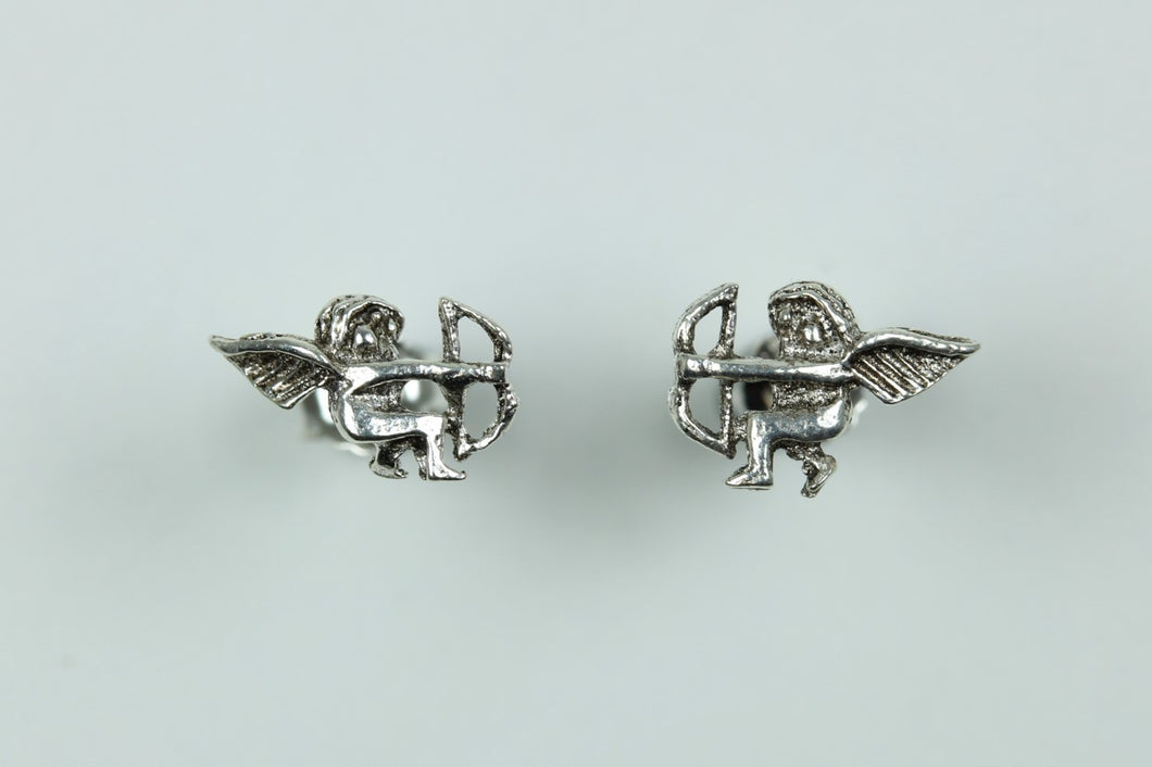 Sterling Silver Stud Cherubs With Bow And Arrow Earrings