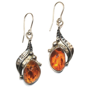 Amber and Silver Art Nouveau Earrings