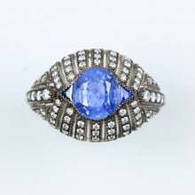 Ceylonese Sapphire Evil Eye Diamond Art Deco 9ct Gold Ring