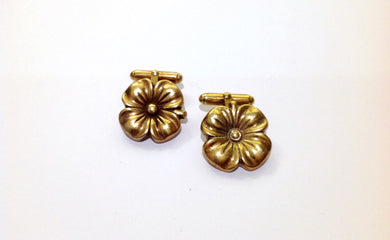 Ladies Silver Gold Plate Flower Cufflinks