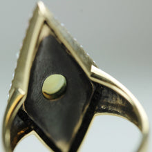 9ct Yellow Gold Black Enamel Pearl And Diamond Ring