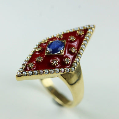 9ct Yellow Gold Red Enamel Sapphire Pearl And Diamond Ring