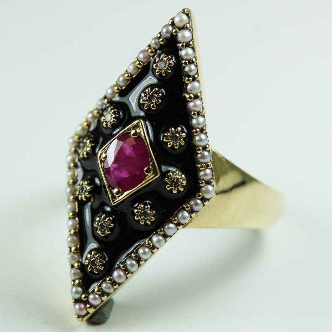 9ct Yellow Gold Black Enamel Ruby Pearl And Diamond Ring