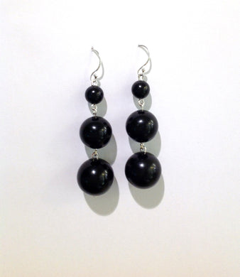 Graduated Whitby Jet Drop Earrings