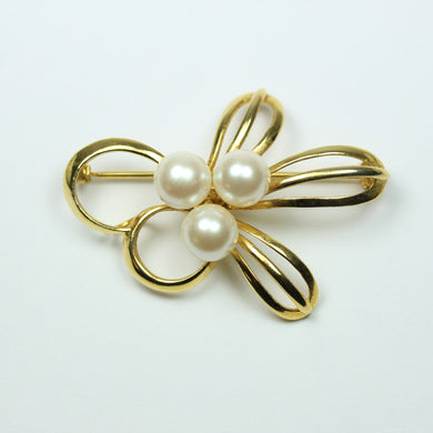 Silver Gold Plate Modern Design Pearl Brooch