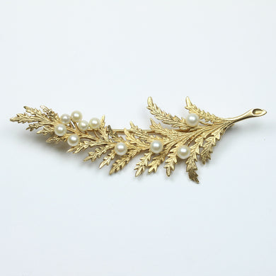 9ct Yellow Gold Long Fern Freshwater Pearl Brooch
