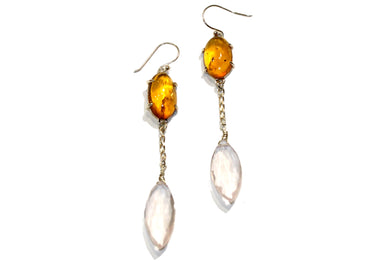 Amber and Rose Quartz Earrings