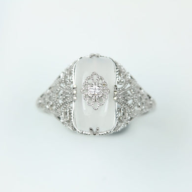 9ct White Gold White Chalcedony and Diamond Ring