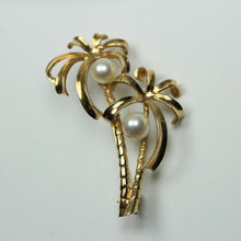 9ct Yellow Gold Freshwater Pearl Palm Tree Brooch