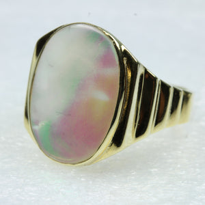 Mother of Pearl Gold Plated Sterling Silver Ring