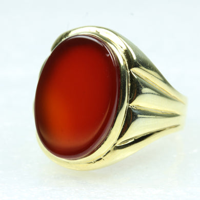 Carnelian Oval Cut Gold Plated Sterling Silver Ring