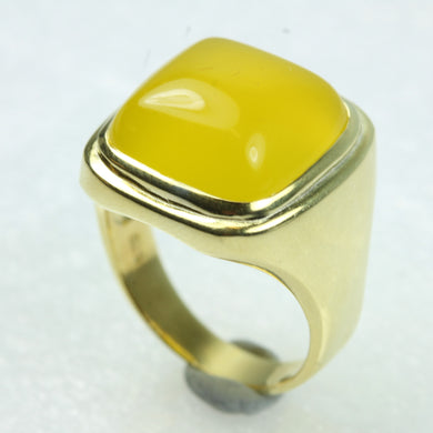 Cabochon Yellow Agate Gold Plated Sterling Silver Ring