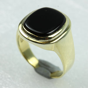 Black Onyx Rectangular Cut Gold Plated Sterling Silver Ring