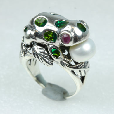 Green Enamel, Ruby and Fresh Water Pearl Sterling Silver Frog Ring