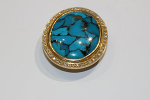 Natural Turquoise and Diamond Pendant