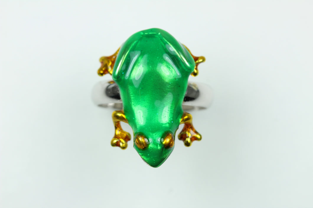 Green And Gold Enamel Frog Ring