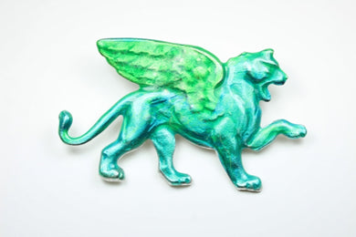 Enamel Green Lion Gryphon Brooch