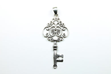 Sterling Silver Decorative Heart Shaped Key Pendant