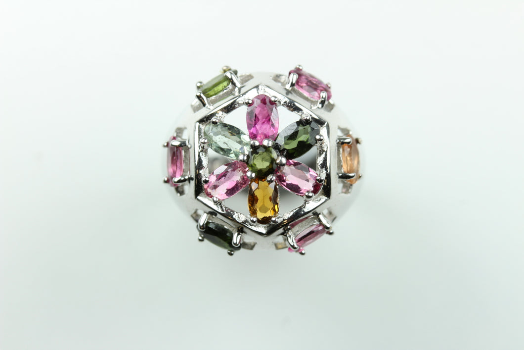 Sterling Silver Rose Gold plated Tourmaline Cluster Ring
