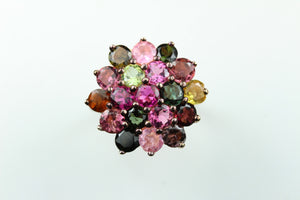 Silver Rose Gold plated Tourmaline Cluster Ring