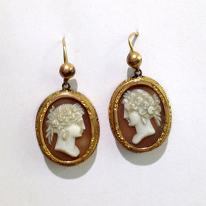 Antique Conch Shell Cameo Earrings
