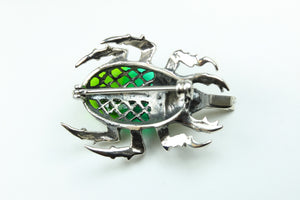 Silver And Green Enamel Scarab Bug Brooch