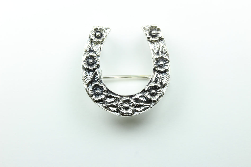 Sterling Silver Floral Horseshoe