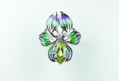 Sterling Silver Floral Marquise Peridot Ring