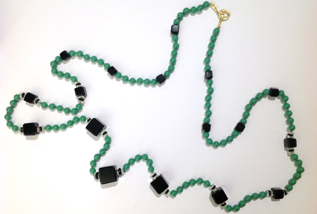 Mint Green and Onyx Flapper Necklace