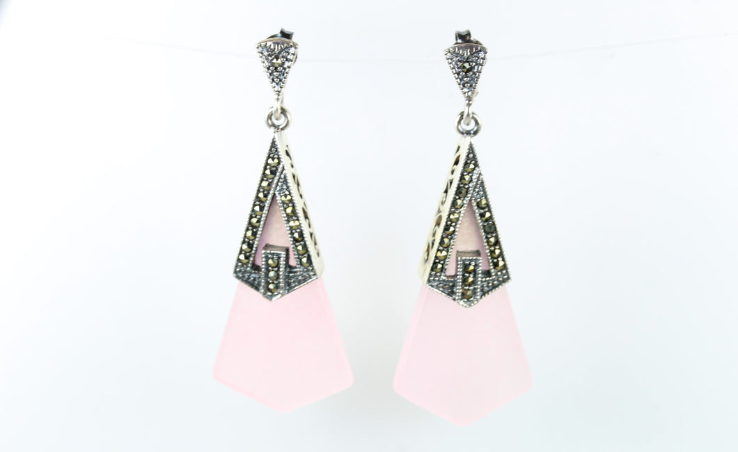 Sterling Silver Drop Marcasite Rose Quartz Earrings
