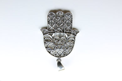 Sterling Silver Floral Hamsa Hand Pendant