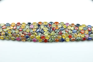 Sterling Silver Multi Coloured  Saphires Bracelet