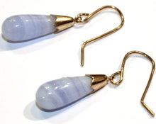 Vintage 9ct Rose Gold Blue Lace Agate Earrings