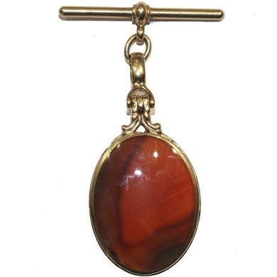 9ct Carnelian and Agate Fob Pendant