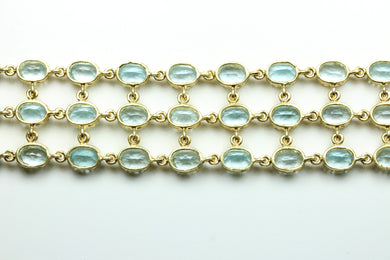 Sterling Silver Gold Plated Topaz Oval Cut Bracelet